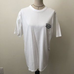 Men's white quiksilver t shirt fish